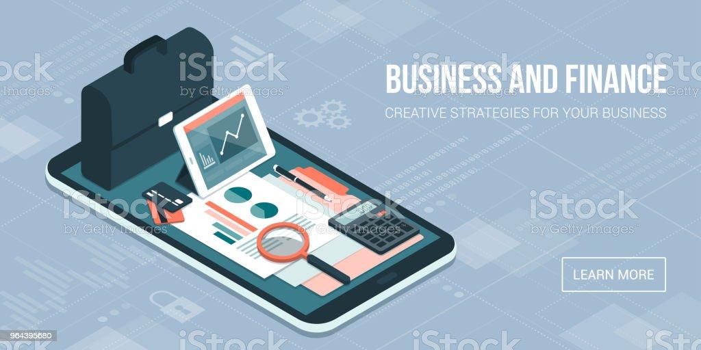 Bedrijfs- en financieel beheer app - Royalty-free Accountancy vectorkunst