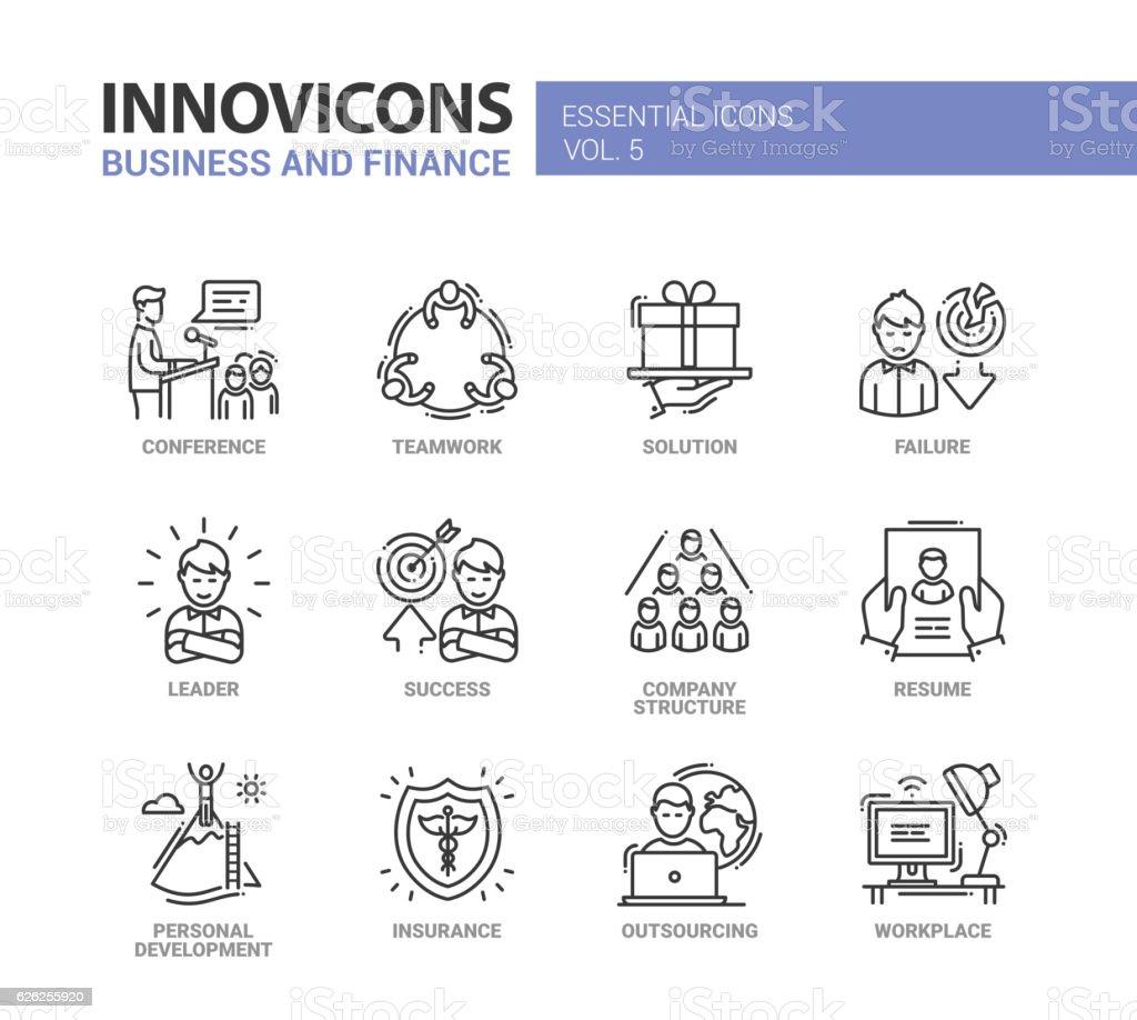 Business and fnance line design icons set vector art illustration