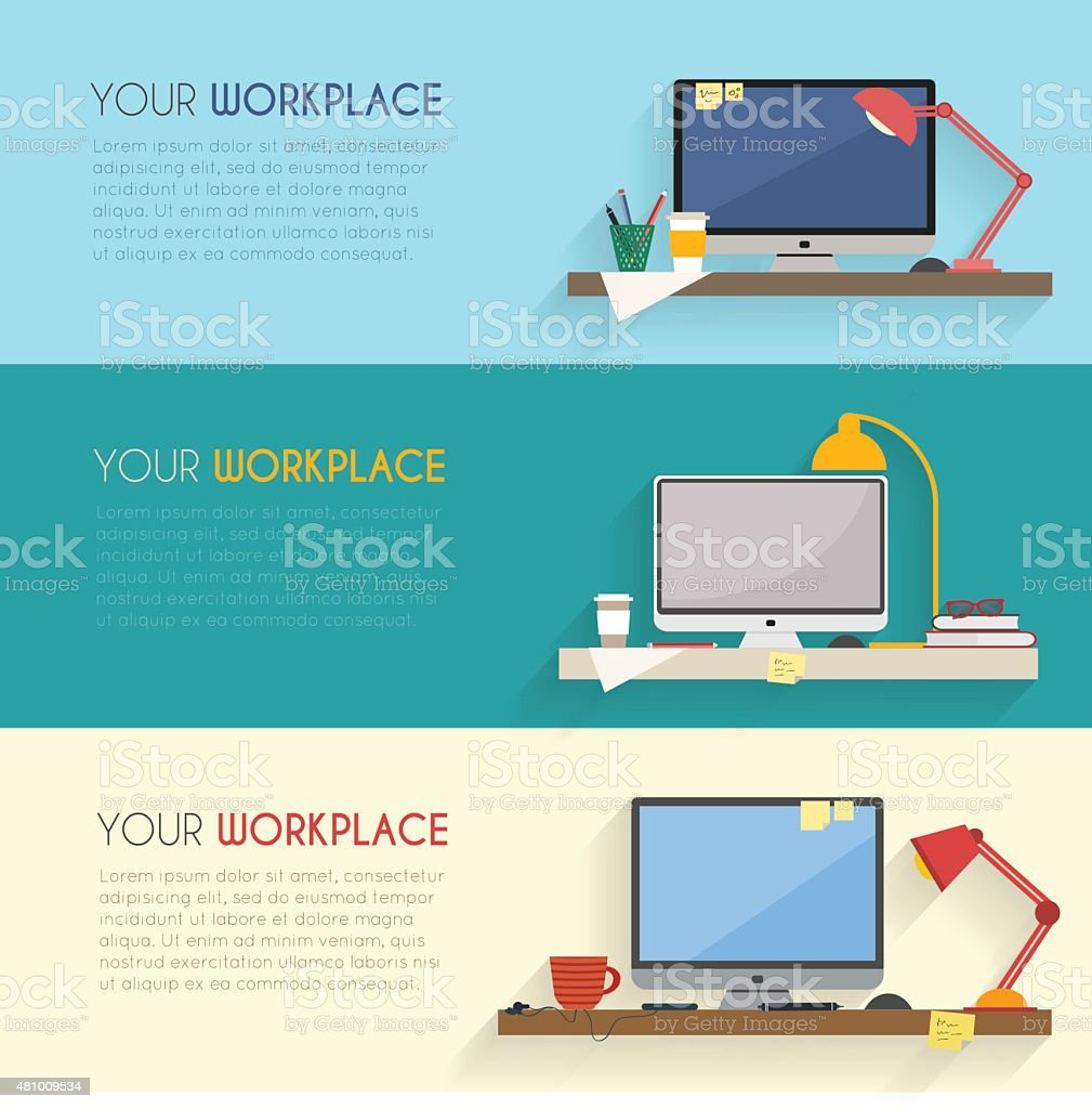 Business and home workplace vector art illustration
