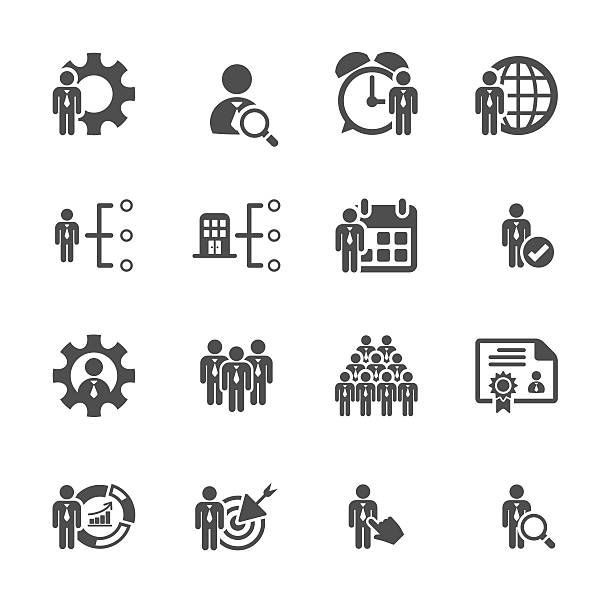 business and human resource management icon set, vector eps10 business and human resource management icon set, vector eps10.. recruiter stock illustrations
