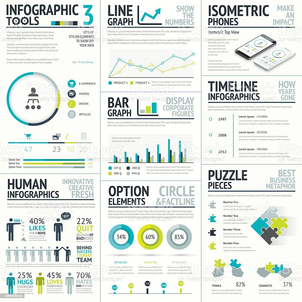 Business and human vector infographic element big set collection royalty-free stock vector art