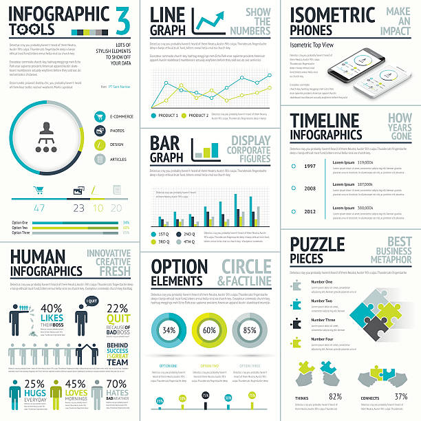 business and human vector infographic element big set collection - demographics infographics stock illustrations, clip art, cartoons, & icons
