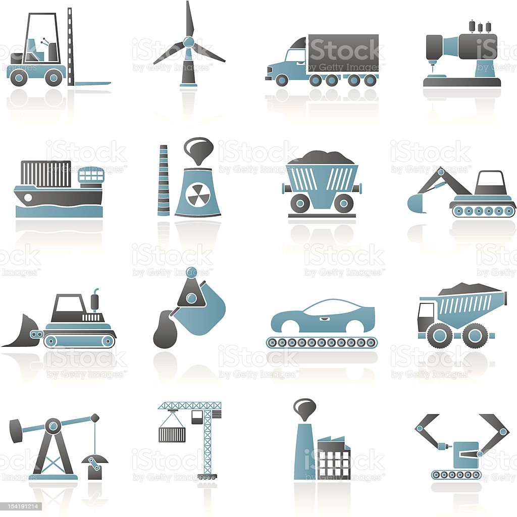 Business and industry icons in black and blue vector art illustration