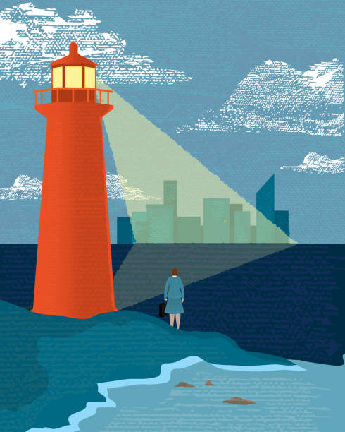 Business and investment concept lighthouse businesswoman Vector illustration of a stylized business woman concept. Features lighthouse with beam of light cast onto a cityscape in the distance. Lot's of textures.  lighthouse stock illustrations