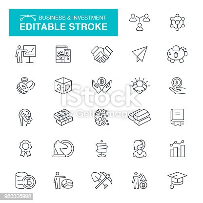Business And Startup, Editable Stroke Icon Set