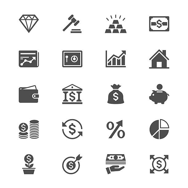 Business and investment flat icons Simple vector icons. Clear and sharp. Easy to resize. No transparency effect. EPS10 file. ingot stock illustrations