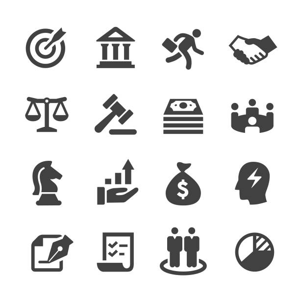 Business and Investment Icons - Acme Series Business, Investment, gavel stock illustrations
