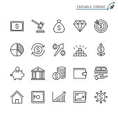 Business and investment line icons. Editable stroke. Pixel perfect.
