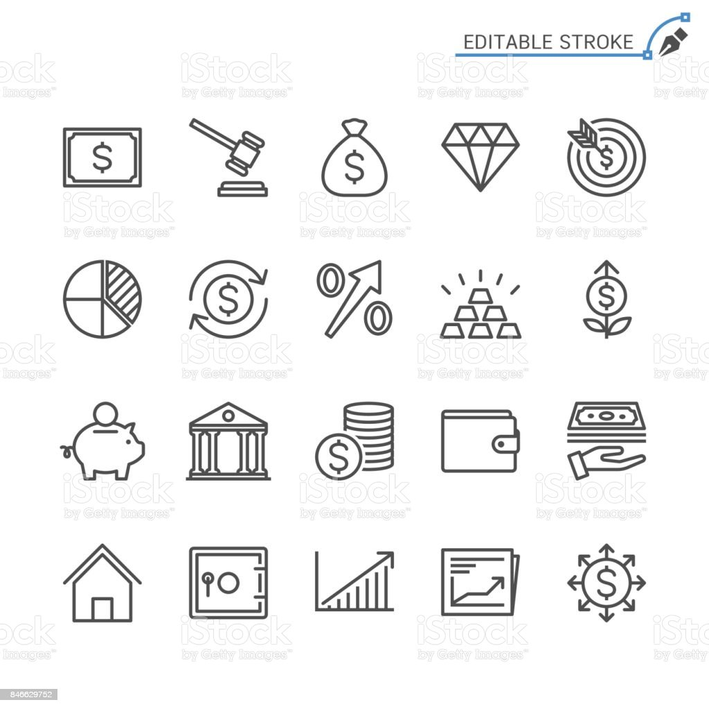 Business and investment line icons. Editable stroke. Pixel perfect. vector art illustration