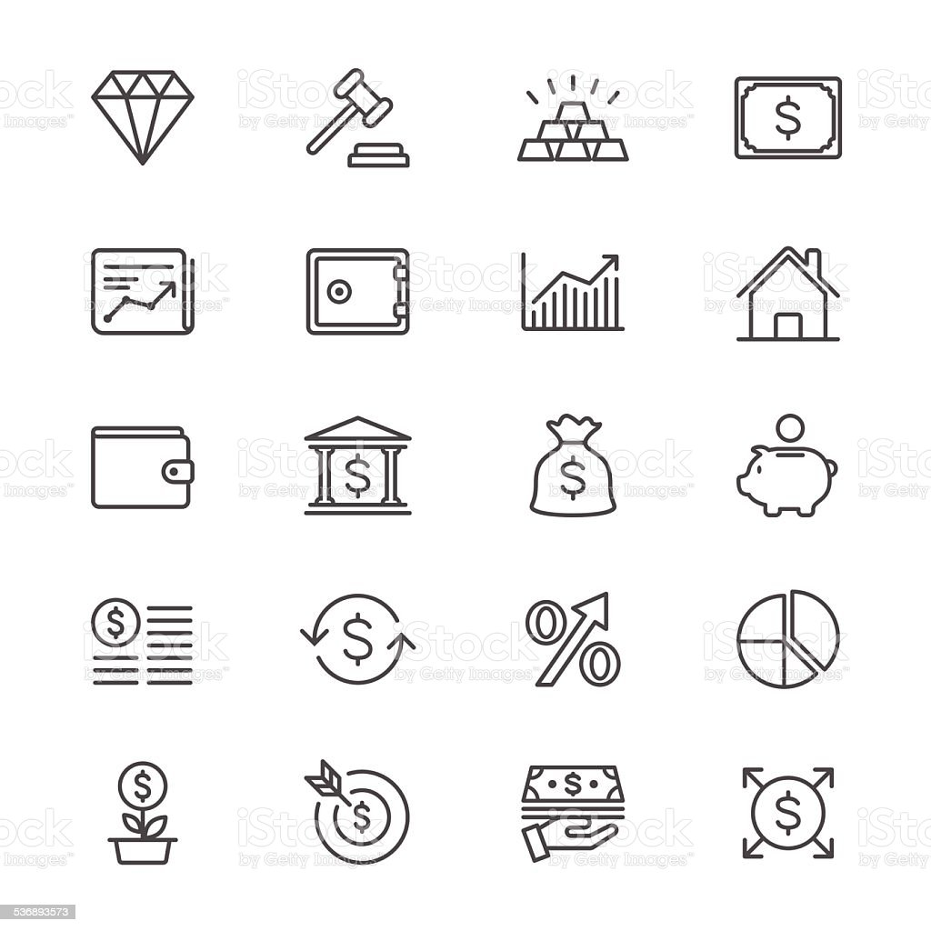Business and investment thin icons vector art illustration