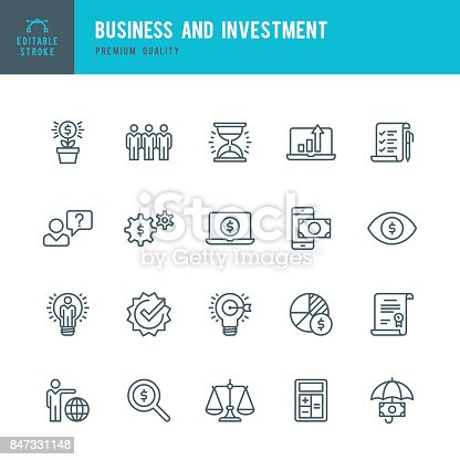 Set of Business and Investment thin line vector icons.