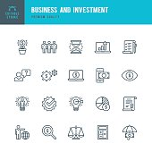 Business and Investment  - Thin Line Icon Set