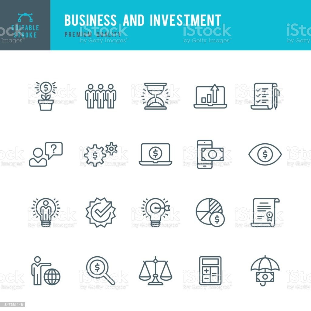 Business and Investment  - Thin Line Icon Set – artystyczna grafika wektorowa