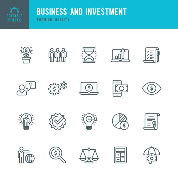 Business and Investment  - Thin Line Icon Set vector art illustration