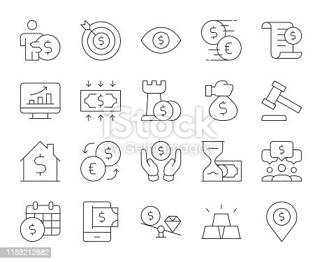 Business and Investment Thin Line Icons Vector EPS File.