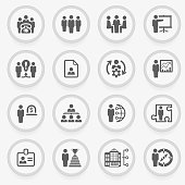 Business and management black icons on stickers. Flat design.