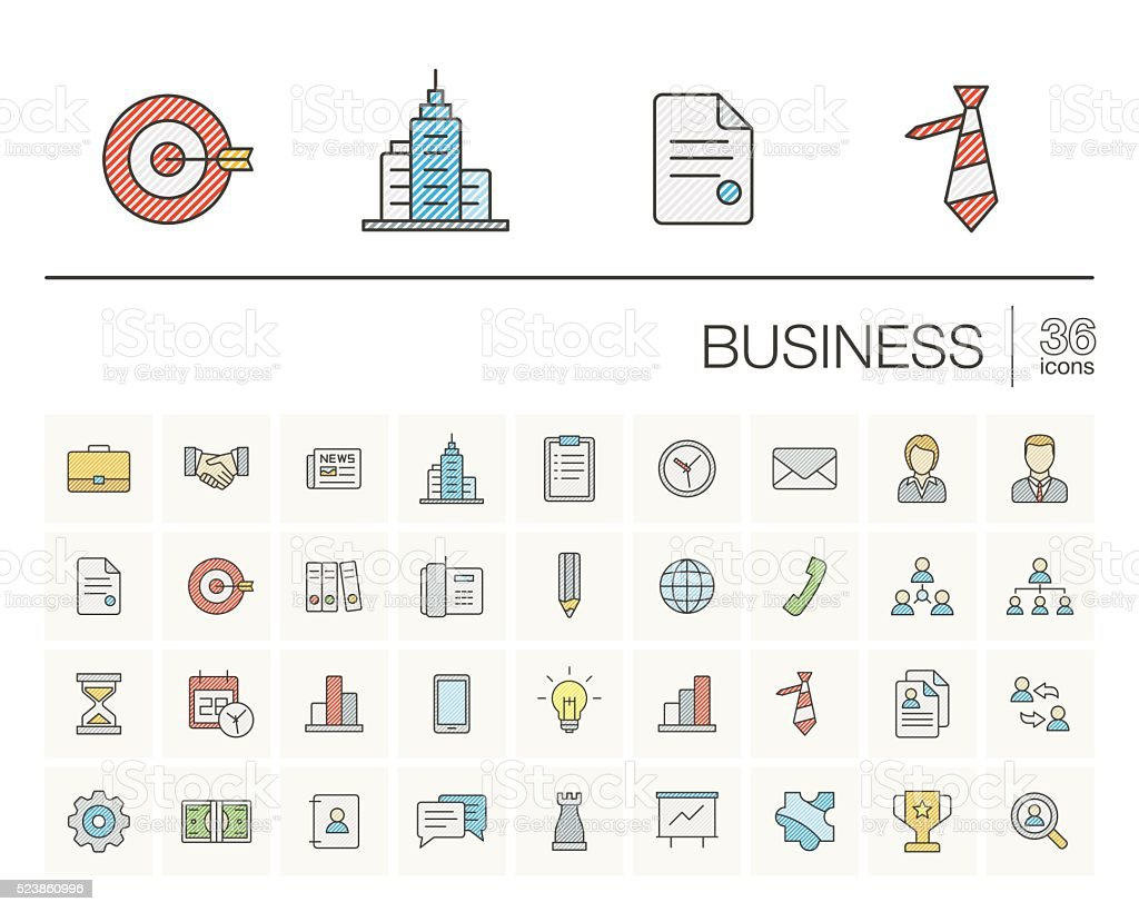 Business and management color vector icons vector art illustration