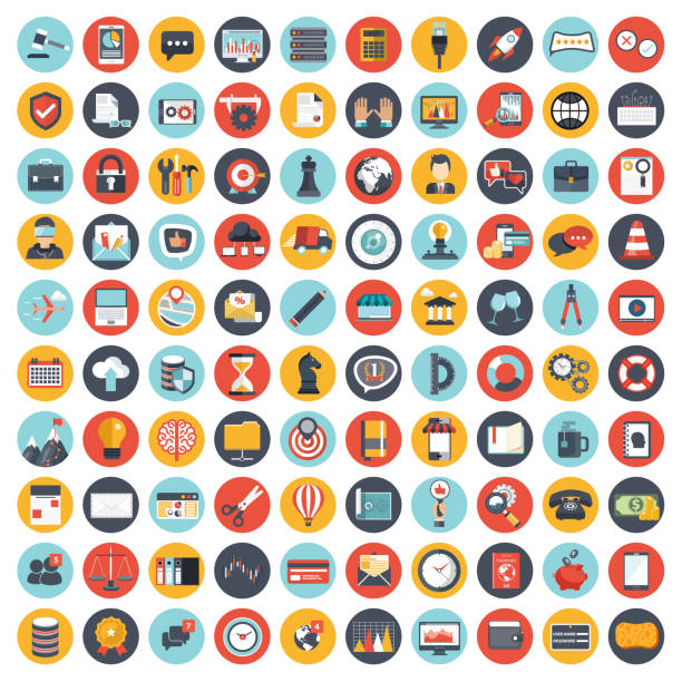 stockillustraties, clipart, cartoons en iconen met business en management icon set voor websites en mobiele toepassingen. platte vectorillustratie - iconenset