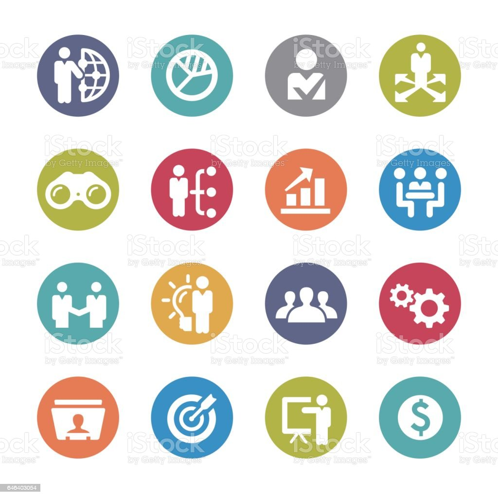 Business and Management Icons - Circle Series vector art illustration