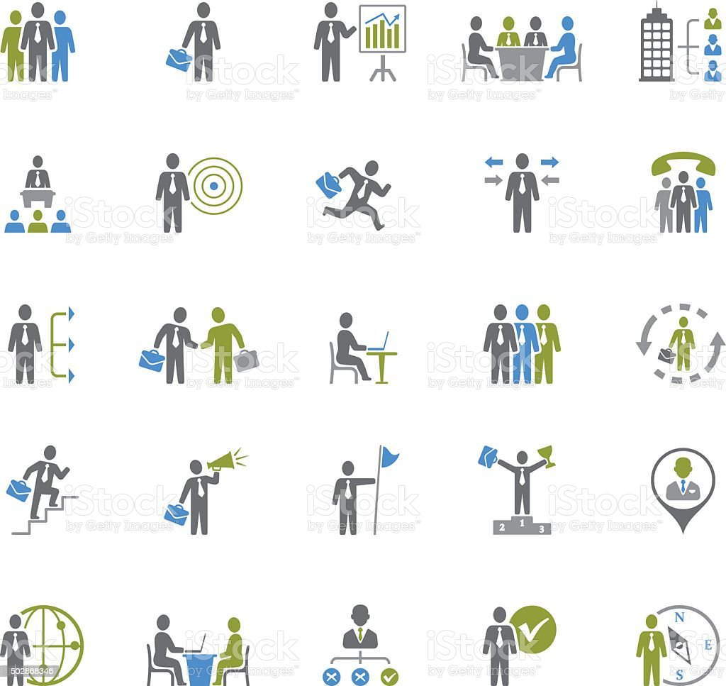 Business and Management Icons vector art illustration