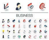 Isometric flat icon set. 3d vector colorful illustration with business, management symbols. Marketing research, strategy, service, career, mission, analytic colorful pictogram Isolated on white