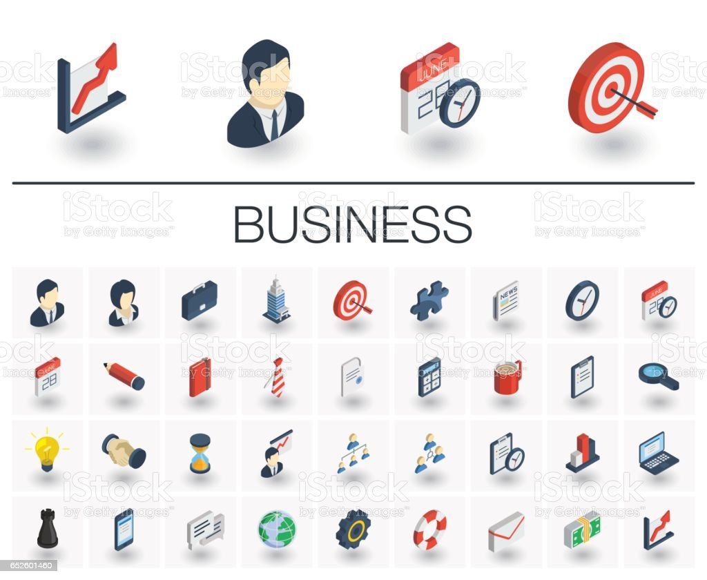 Business and management isometric icons. 3d vector vector art illustration