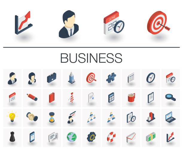 business and management isometric icons. 3d vector - 3d icons stock illustrations, clip art, cartoons, & icons
