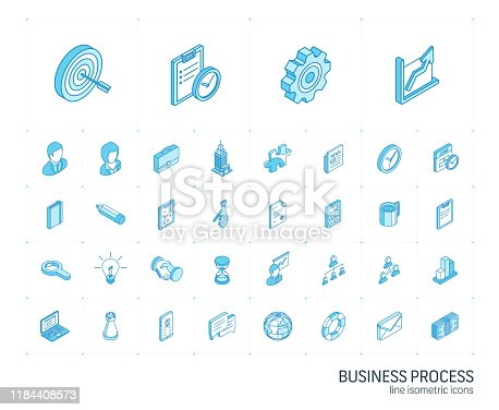 Isometric line icon set. 3d vector colorful illustration with business, management symbols. Marketing research, strategy, service, career, mission, analytic colorful pictogram Isolated on white