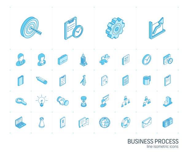 ikony linii izometrycznej biznesu i zarządzania. wektor 3d - rzut izometryczny stock illustrations