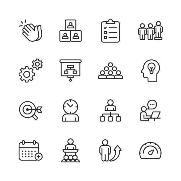 ilustraciones, imágenes clip art, dibujos animados e iconos de stock de iconos de línea de negocio y gestión. trazo editable. pixel perfect. para móvil y web. contiene iconos como gestión empresarial, estrategia empresarial, gestión del tiempo, desarrollo corporativo, consultoría de negocios. - tareas domésticas