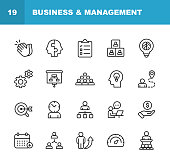 istock Business and Management Line Icons. Editable Stroke. Pixel Perfect. For Mobile and Web. Contains such icons as Business Management, Business Strategy, Brainstorming, Optimization, Performance. 1135996018