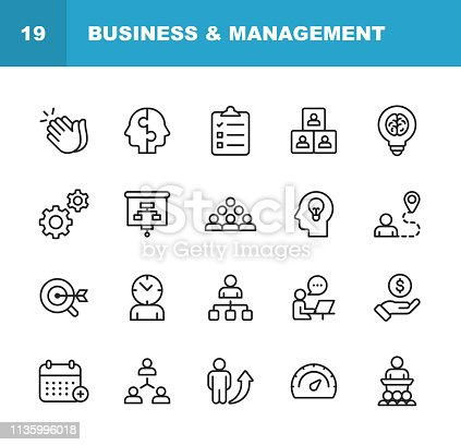 20 Business and Management Line Icons.