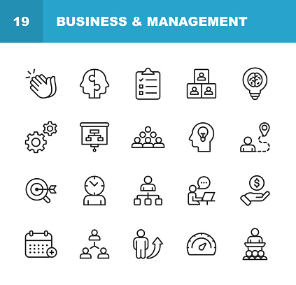 Business and Management Line Icons. Editable Stroke. Pixel Perfect. For Mobile and Web. Contains such icons as Business Management, Business Strategy, Brainstorming, Optimization, Performance.