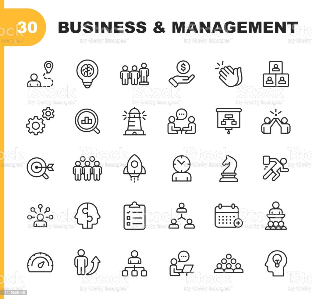 Business and Management Line Icons. Editable Stroke. Pixel Perfect. For Mobile and Web. Contains such icons as Business Management, Business Strategy, Brainstorming, Optimization, Performance. - Grafika wektorowa royalty-free (Biuro)