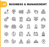 30 Business and Management Line Icons.