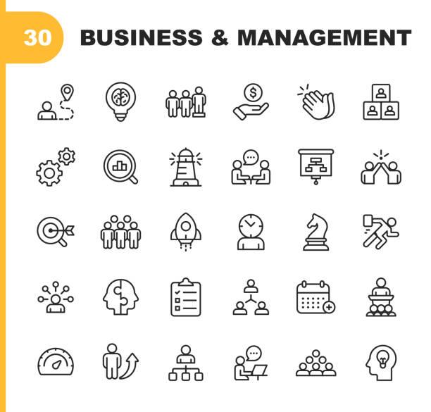 """業務和管理線圖示。可編輯的筆劃。圖元完美。適用于移動和 web。包含諸如 """"業務管理""""、""""業務戰略""""、""""頭腦風暴""""、""""優化""""、""""性能"""" 等圖示。 - 商務 幅插畫檔、美工圖案、卡通及圖標"""