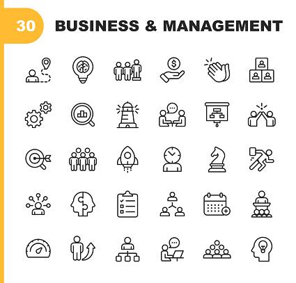 Business And Management Line Icons Editable Stroke Pixel Perfect For Mobile And Web Contains Such Icons As Business Management Business Strategy Brainstorming Optimization Performance - Stockowe grafiki wektorowe i więcej obrazów Biuro