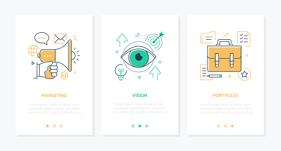 Business and management - set of line design style vertical web banners