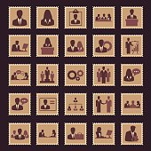 Business and Management Stamp Icons