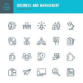 Set of Business and Management thin line vector icons.