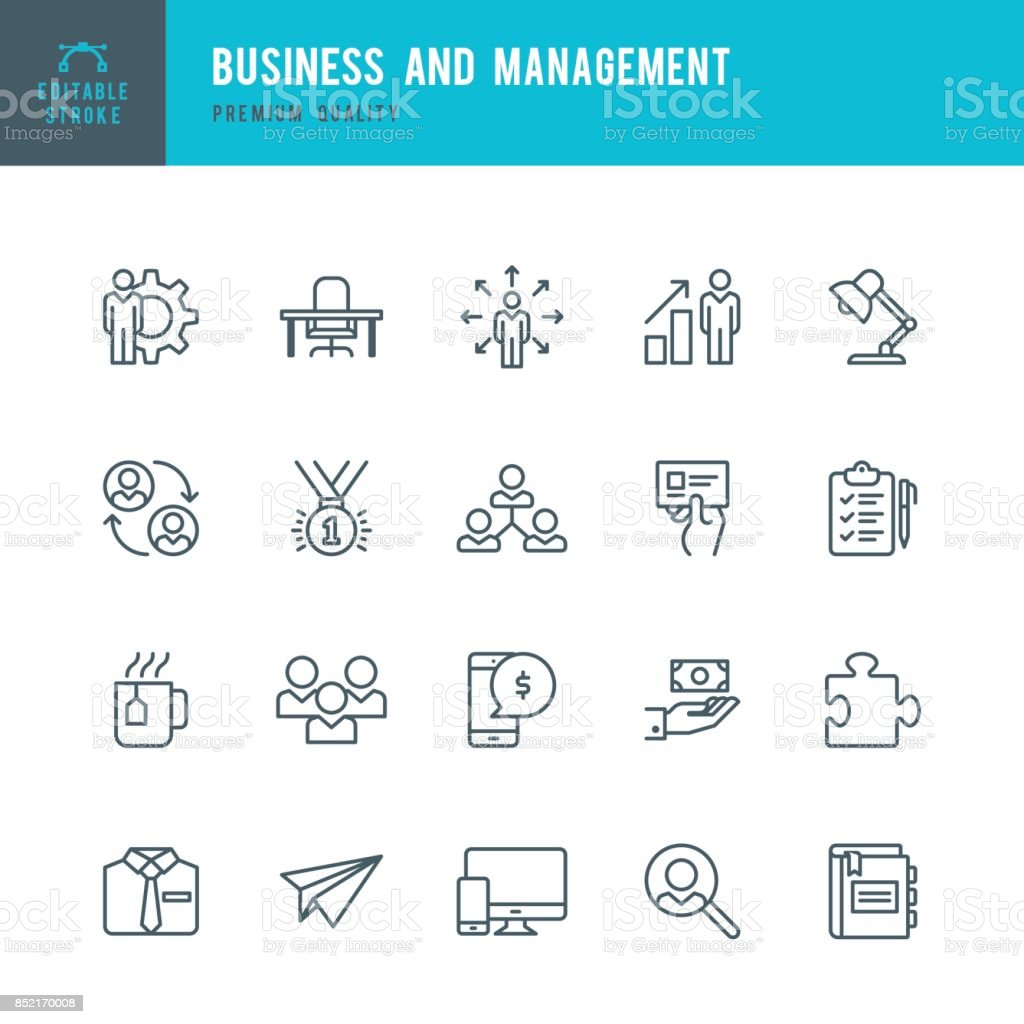 Business and Management  - Thin Line Icon Set vector art illustration