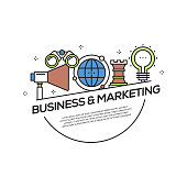 Business and Marketing Concept Flat Line Icons