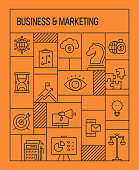 Business and Marketing Concept. Geometric Retro Style Banner and Poster Concept with Business and Marketing Line Icons
