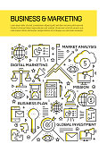 Business and Marketing Concept Line Style Cover Design for Annual Report, Flyer, Brochure.