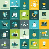 Flat design business and marketing concepts. Can be used as icons and for web banners , backgrounds, web templates, presentations etc…