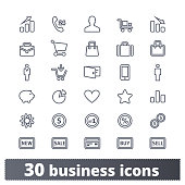 Business, money, e-commerce, shopping and finance line icons. Vector set of universal user interface design elements for web and mobile services. Isolated on white background.