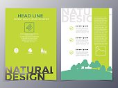 business and nature brochure design template vector  in A4 size  for use as company annual report, poster,flyer