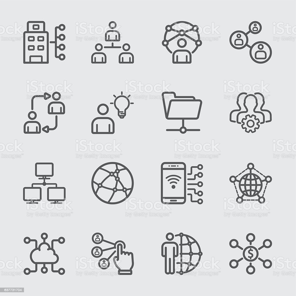 Business and Network technology line icon – Vektorgrafik