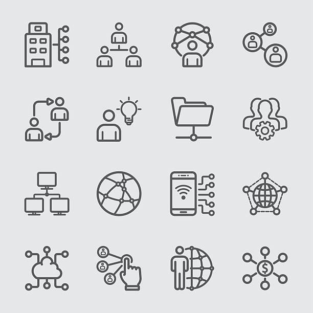 illustrazioni stock, clip art, cartoni animati e icone di tendenza di business and network technology line icon - ordine
