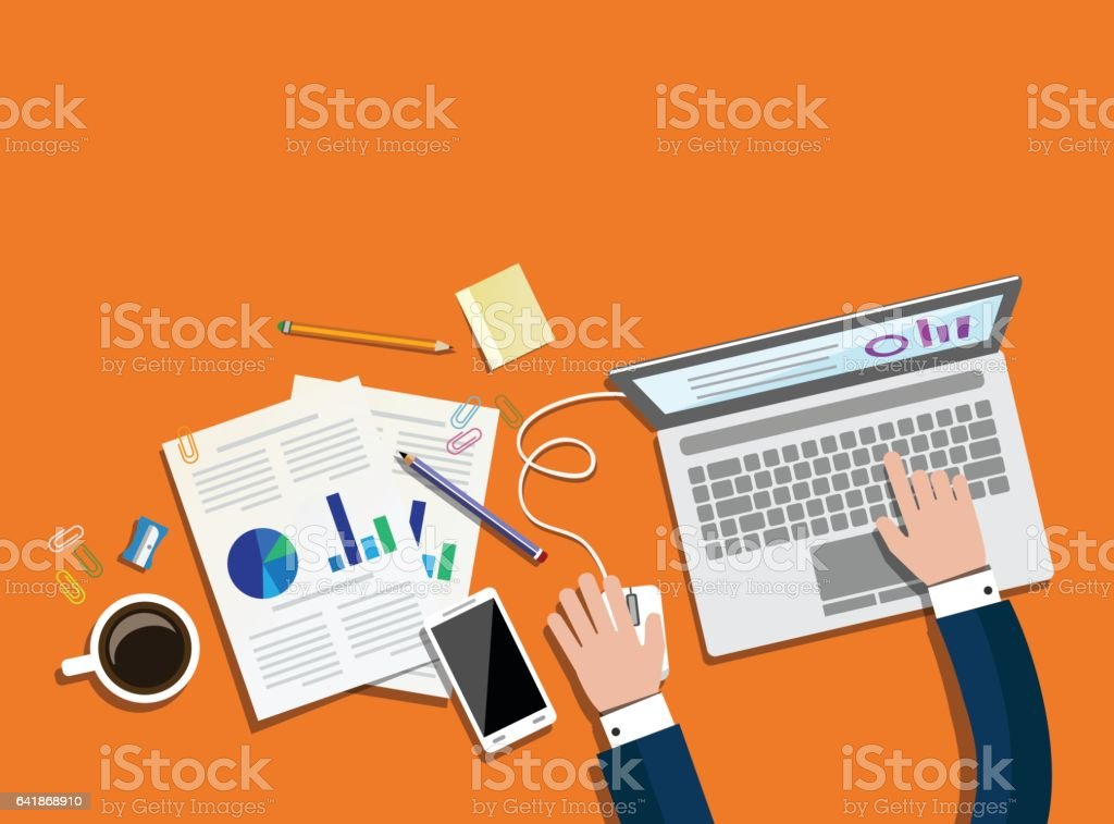 Business and office concept vector art illustration